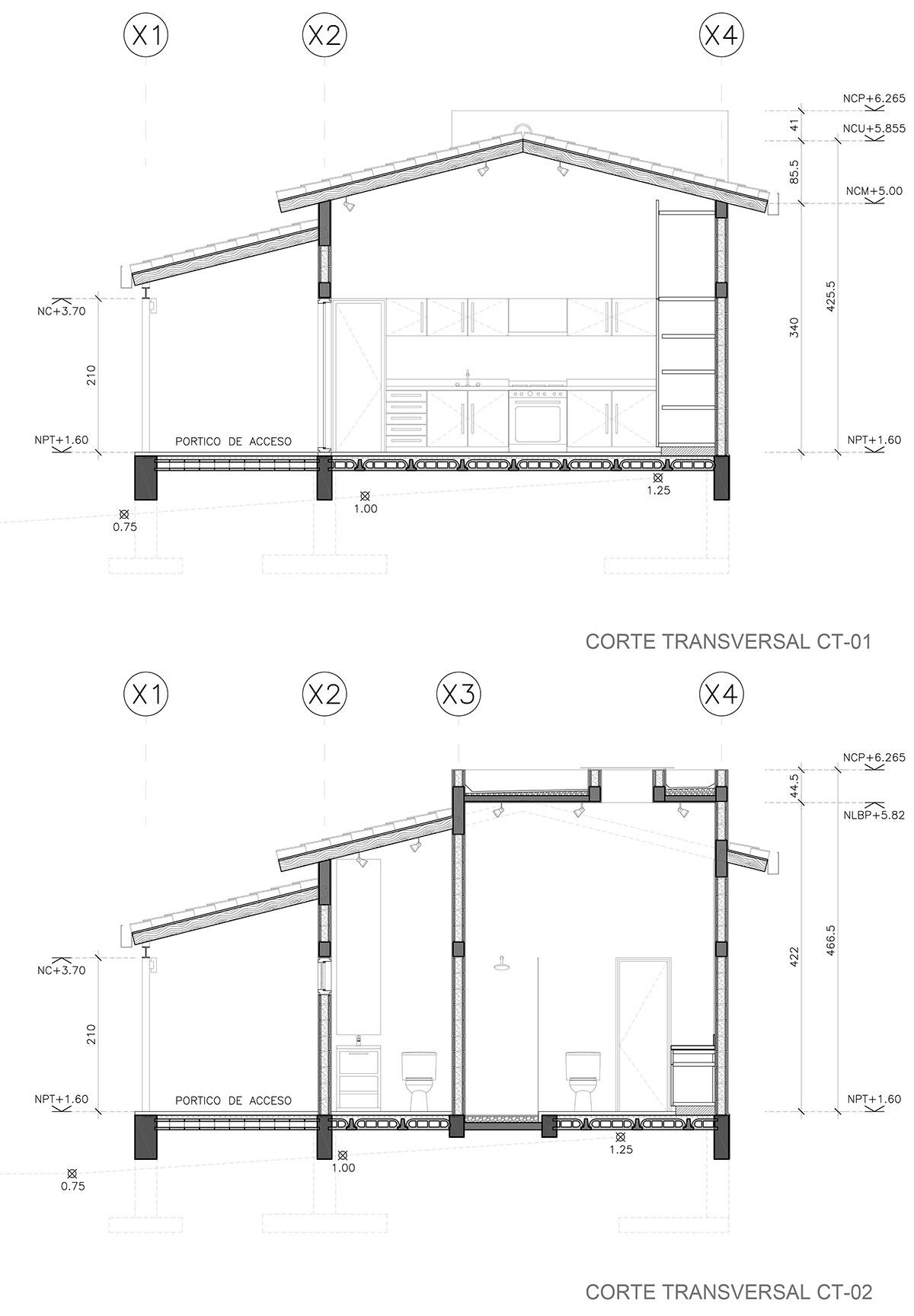 Secciones Casa de Huespedes-VCSVB-TAAR-Taller de Arquitectura de Alto Rendimiento