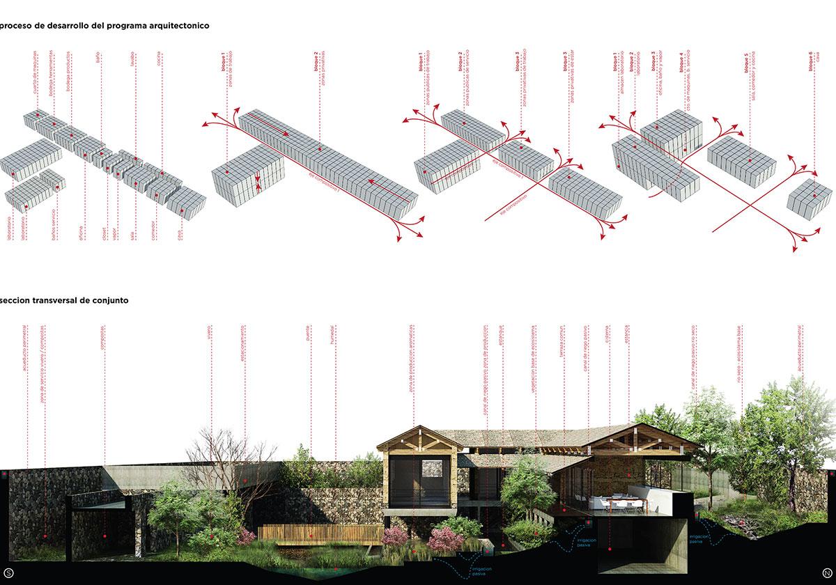 Diagramas y Sección-El Humedal-TAAR-Taller de Arquitectura de Alto Rendimiento